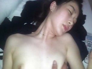 Korean cute girl giving blowjob