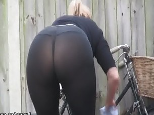 Sexy big ass in transparent lycra leggings tights &amp_ thong